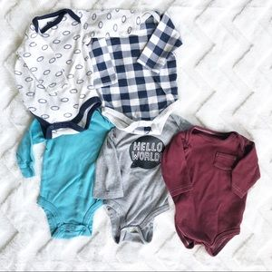 Bundle of 5 long sleeve baby boy onesies